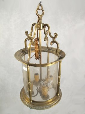 Antique French Bronze & Glass Lantern