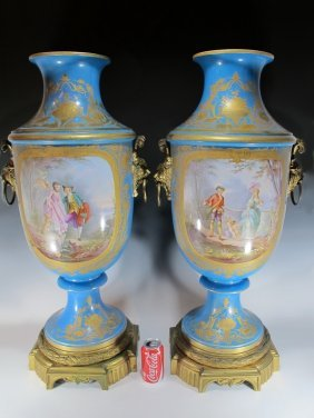19th C French Sevres Style Bronze & Porcelain Urns