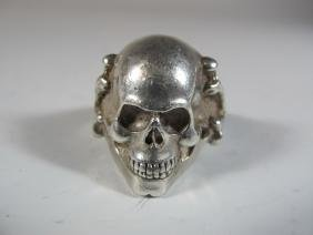 Vintage Skull Sterling Ring, Marked TS