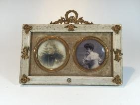 Vintage Wood & Bronze Picture Frame