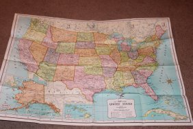 New Map Co. Map Of The United States 50 States No Date