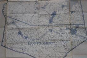 Vintage Aero City Map Amsterdam, Gloversville,