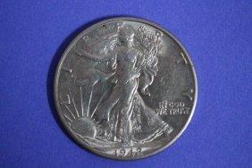 1942d Walking Liberty Half-dollar A.u. Nice Mint Luster
