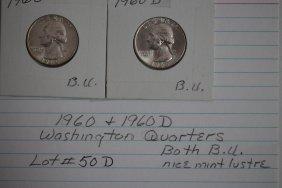 1960- 1960d Washington Quarters Brilliant Uncirculated