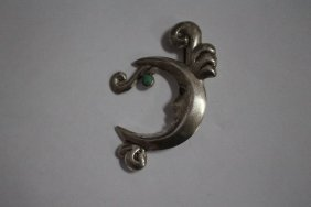 Sterling Silver Man In Moon Broach With Turquoise