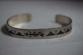 American Indian Motif Cuff Bracelet In Sterling Silver