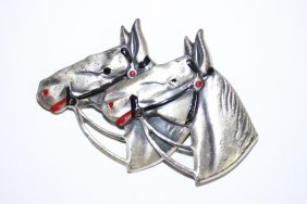Sterling Silver Double Horsehead Broach/pin