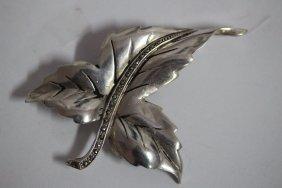 Large Sterling Silver Designer Leaf Brooch With