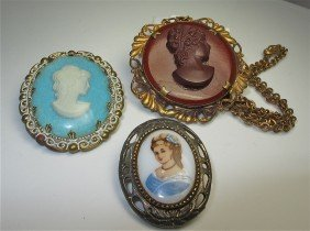 Collection Of Three (3) Cameos