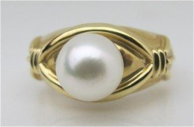 14K Yellow Gold Pearl Ring, Pearl Measures 7 1/2mm