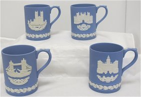 Wedgwood Blue Jasperware Christmas Mugs