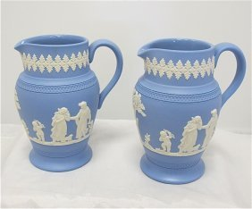 Pair Of 20th Century Wedgwood Blue Jasperware