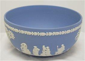 "Wedgwood Blue Jasperware Sacrafice Bowl 8"" In Diame"