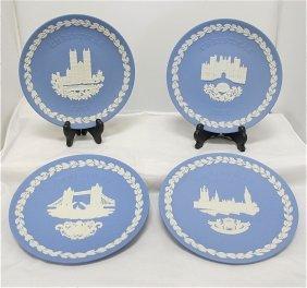 Wedgwood Blue Jasperware Christmas Plates: 1974 Hou