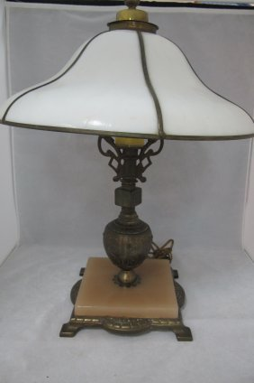 Antique Parlor Lamp, Brass And Marble Base, Leasded
