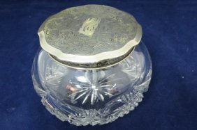 Vintage Cut Crystal Dresser  Jar With Sterling Lid