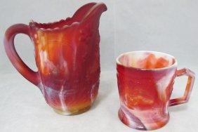 Imperial Red Slag Glass Pitcher & Mug