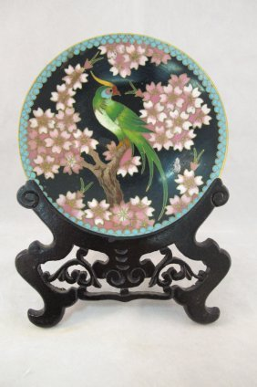Chinese Cloisonne Decorative Plate On Stand
