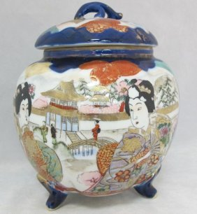 Japanese Porcelain Footed Covered Hand Painted Jar