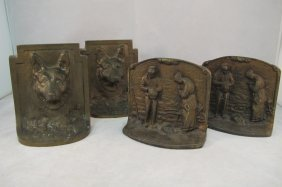 2 Sets Of Bronze Book Ends