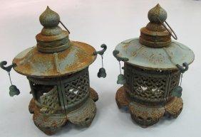 Pair Of Oriental Cast Iron Lanterns, Fancy Openwork