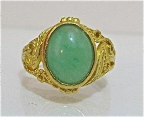 18K Yellow Gold Jade Ring, 3.73dwt
