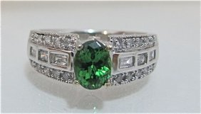 14K White Gold Tsavorite & Diamond Ring
