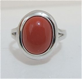 14K White Gold Coral Ring, 1.79dwt