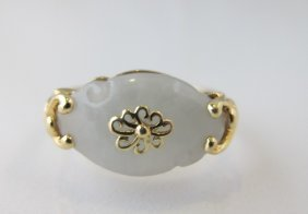 14K Yellow Gold Jade Ring, 2.07dwt