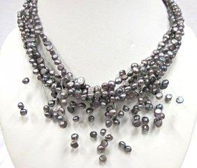 4 Strand Black Pearl Necklace