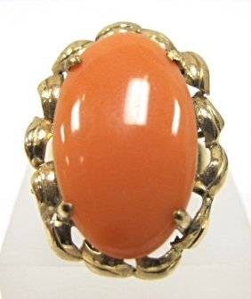 14k Yellow Gold Coral Ring, Coral Measures 14.5mm X