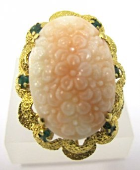 14k Yellow Gold Carved Coral And Emerald Ring, Coral