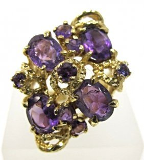 Vintage 14k Yellow Gold Amethyst Cluster Ring, 5.45dwt