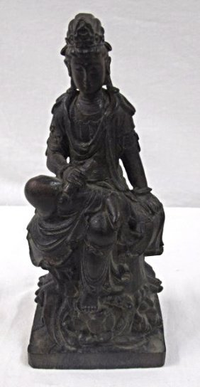 "Chinese Carved Wood Figure, 9 1/2""tall X 4""w"