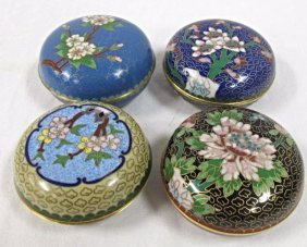 Four (4) Chinese Cloisonne Covered Round Boxes