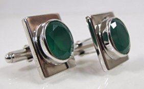 Pair Sterling Silver Green Agate Cufflinks
