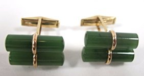 Pair 14k Yellow Gold Spinach Jade Cufflinks