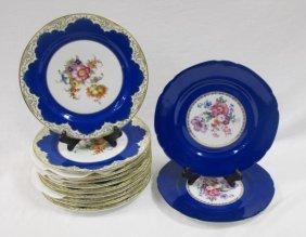 10 Cobalt Tirschenreuth Bavaria Dinner Plates And 2
