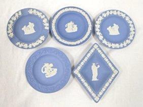Five (5) Wedgwood England Blue Jasperware Ashtrays