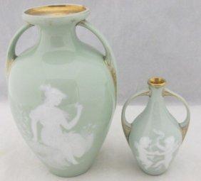 Two (2) Pate-sur-pate Heubach Art Nouveau Porcelain