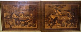 Two (2) Italian Marquetry Inlaid Wall Art Depicting