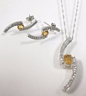14k White Gold Citrine And Diamond Earring & Necklace