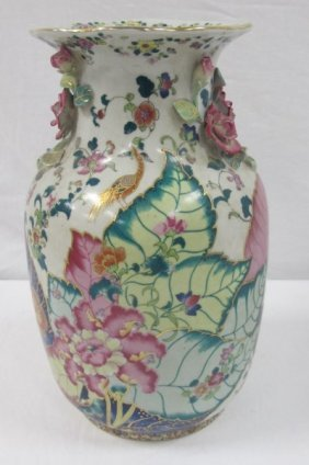 "Chinese Tobacco Leaf Porcelain Vase, 12""h X 6""dia"