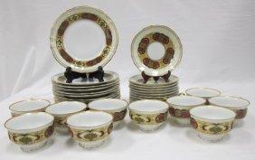 German Porcelain Dessert Cup & Saucer Set To Include 10
