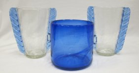 Collection Of Hand Blown Glass: Cobalt Ice Bucket And