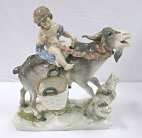 Goat Girl Porcelain Statue, Made In Czechoslovakia, 14""