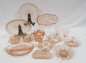 Collection Of Pink Depression Glass To Include 2