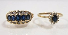 Two (2) Yellow Gold Sapphire & Diamond Rings (1) 18kyg