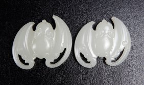 Pair Of Chinese Glass Bat Plaques