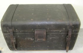 ANTIQUE LEATHER CAPTAIN'S CHEST